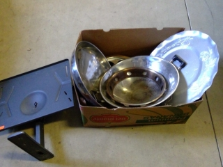 Box With Tv Mount And Assorted Pans