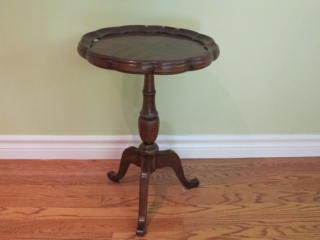 "Walnut  Pedestal Table 15"" X 21"" Tall"