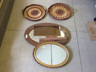 Lot To Include 2 Mirrors, Pc Of Smoke Glass 2
