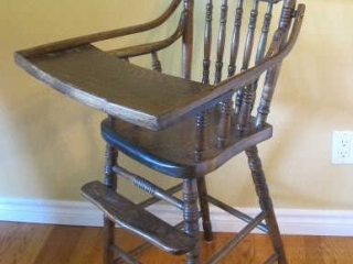 Press Back Wood High Chair