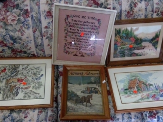 Large Grouping Of Needlepoint Pictures And Other