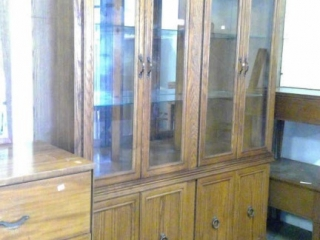 China Cabinet With Glass Shelves And Mirror Front