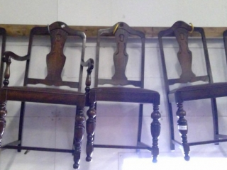 5 Antique Solid Chairs  One Being Captain