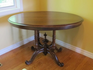 "Victorian Oval Pedestal Table 42"" X 27"" Tall"