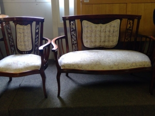 Cream Colored Settee And Matching Chair