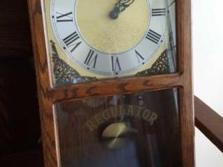 Solid Oak Wall Regulator Clock Working  26
