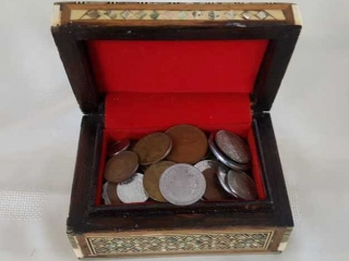 Inlaid Box With Foreign Coin Collection