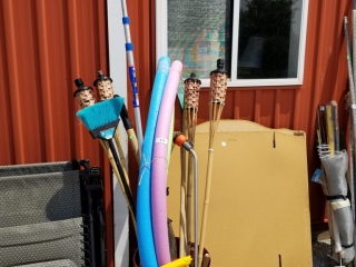 Lot Barrel Of Outdoor, Yard And Garden. Including