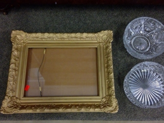 Gold Picture Frame With 2 Crystal Bowls