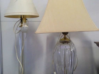 Two Crystal Glass Tables Lamps