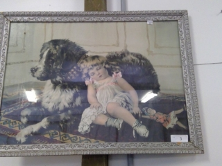 Victorian Little Girl With Dog  Framed Print