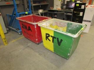 "44"" x 32"" x 35"" poly tub carts"