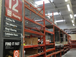 """99"""" sections of Interlake warehouse racking with wood decking, 3' x 12', 4"""" & 5-1/2"""" crossbars"""
