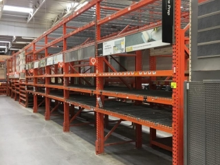 """99"""" sections of Interlake pallet racking with wood & metal wire decking, 4' x 12', 3-1/4"""" crossbars"""