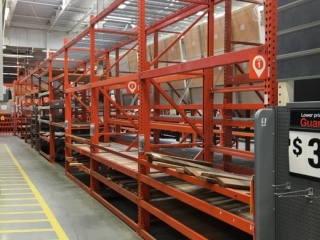 """99"""" sections of Interlake pallet racking with wood decking, 4' x 12', 3-1/2 & 4"""" crossbars"""