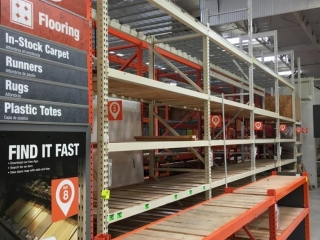"""(4) 99"""" and (1) 51"""" sections of Interlake pallet racking w/wood decking, 42"""" x 12', 3-1/4"""" crossbars"""