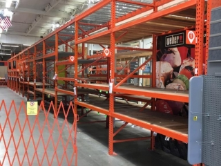 """99"""" sections of Interlake pallet racking with wood & metal wire decking, 4' x 12'"""