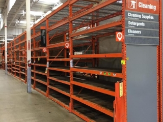 """99"""" sections of Interlake warehouse racking with wood & metal wire decking, 3' x 12'"""