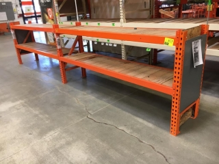 """99"""" sections of Interlake warehouse racking with wood decking, 2' x 4', 3-1/2"""" crossbars"""