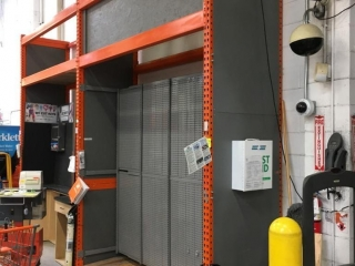 """99"""" sections of Interlake warehouse racking with wood decking, 3' x 12', 5-1/2"""" crossbars"""