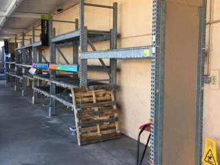 """99"""" sections of Interlake galvanized teardrop warehouse racking with metal wire decking, 3' x 10'"""