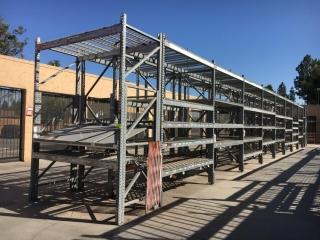 "(18) 99"" & (2) 51"" sections of Interlake galvanized teardrop warehouse racking w/metal wire decking"