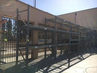 "99"" sections of Interlake galvanized teardrop warehouse racking w/metal wire decking"