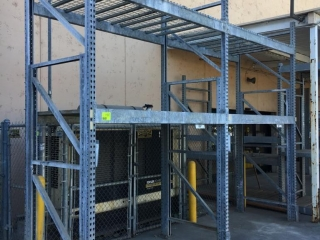 """87"""" sections of Interlake galvanized teardrop warehouse racking with metal wire decking, 4' x 12'"""
