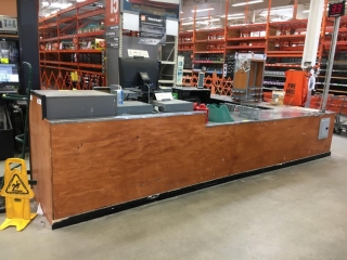 Paint center cabinets with stainless steel top (Approx. 30' total)