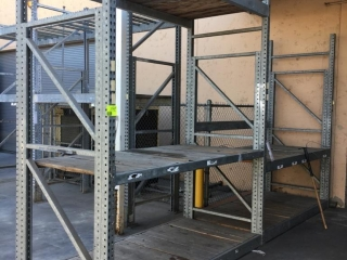 """99"""" section of Interlake galvanized teardrop warehouse racking with metal wire decking, 4' x 10'"""