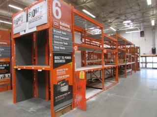 """(12) 99"""" and (2) 87"""" sections of Interlake warehouse racking with wood & metal wire decking"""