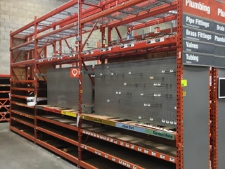 """99"""" sections of Interlake warehouse racking with wood decking, 2' x 12', 2-1/2"""" crossbars"""