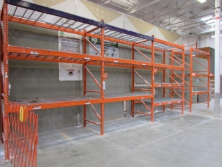 """99"""" sections of Interlake pallet racking w/wood & metal wire decking, (1) 2' x 12' & (11) 4' x 12'"""