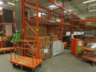 """(2) 150"""", (7) 99"""", (4) 87"""", and (3) 75"""" sections of Interlake pallet racking with metal wire decking"""