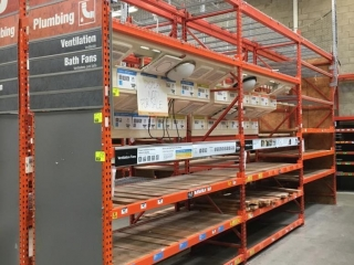 """99"""" sections of Interlake warehouse racking with wood decking, 3' x 12', 3-1/4"""" crossbars"""