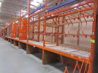 """99"""" sections of Interlake pallet racking with wood decking, 4' x 12', 3-1/4"""" & 5-1/2"""" crossbars"""