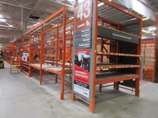 """(20) 99"""" and (1) 51"""" sections of Interlake pallet racking with wood decking,"""