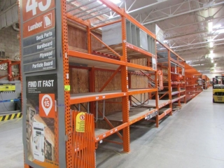 """(6) 99"""" and (1) 75"""" sections of Interlake pallet racking w/wood decking, 4' x 12', 3-1/4"""" crossbars"""