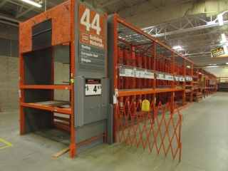 """108"""" sections of Interlake pallet racking with wood & metal wire decking, 4' x 12'"""