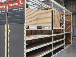"""99"""" sections of Interlake teardrop warehouse racking with wood decking, 3' x 12', 3-1/4"""" crossbars"""