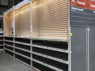 "99"" sections of Interlake teardrop warehouse racking w/metal wire decking, 3' x 12', 3-1/4"" crossbar"