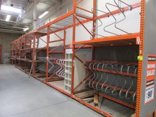 """99"""" sections of Interlake pallet racking, (1) 4' x 16' and 4' x 12', 3-1/4"""" crossbars"""