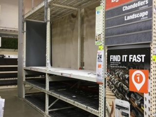"""99"""" sections of Interlake teardrop pallet racking with metal wire decking, 4' x 12', 3-1/4"""" crossbar"""