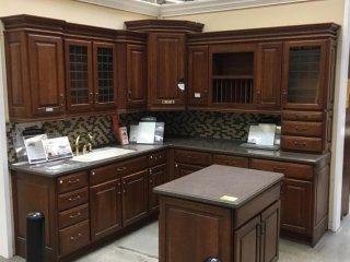 Kraft Maid Harmony Wellington kitchen countertops, chocolate glaze on Cherry with Corian countertop