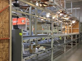"""99"""" sections of Interlake teardrop pallet racking with metal wire decking and cantilever top deck"""