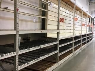 "99"" sections of Interlake teardrop pallet racking w/metal wire decking, 42"" x 12', 3-1/4"" crossbar"