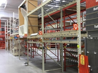 """99"""" sections of Interlake teardrop pallet racking with metal wire decking, 4' x 16'"""