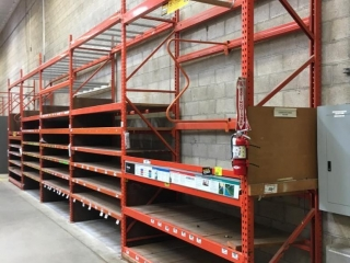 """99"""" sections of Interlake warehouse racking with wood decking, 3' x 12', 2-1/4"""" & 4"""" crossbars"""