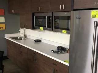 """132"""" x 25"""" cabinet with Corian countertop"""