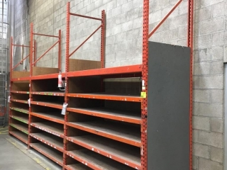 """99"""" sections of Interlake warehouse racking with wood decking, 3' x 12', 2-1/4"""" crossbars"""